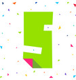 letter cut from colored paper with bent angle vector image