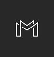 Letter M logo or two modern monogram symbol mockup vector image