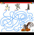 lines maze game with spooky halloween characters vector image vector image
