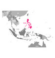 map of philippines pink highlighted in vector image vector image