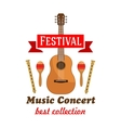 Music concert badge with musical instruments vector image vector image