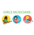 musicians girls of different nations is inspired vector image