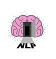 NLP logo Brain with door open Log into my vector image vector image