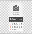 october 2018 calendar calendar planner design vector image