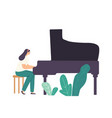 pianist girl character playing musical composition vector image