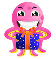 pink octopus with a present on white background vector image vector image