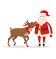 reindeer and santa strokings his pet head isolated vector image vector image