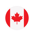 round button with canada flag isolated on white vector image vector image