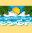 sea waves and beach in paper art style vector image