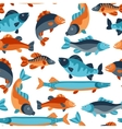 seamless pattern with various fish background vector image vector image