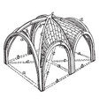 sexpartite ribbed vault transverse rib vintage vector image vector image