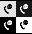 sos call icon isolated on black white and vector image vector image