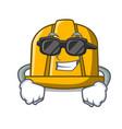 super cool construction helmet character cartoon vector image