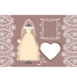 Wedding bridal dress with framelabelpaisley vector image vector image