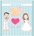 wedding invitation card cute couple talking phone vector image vector image