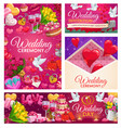 wedding rings cake and gifts hearts and envelope vector image vector image