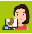 woman laptop camera paint color vector image vector image