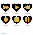 heart black icon love symbol set of orange media vector image