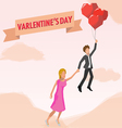 Man and woman in balloon love vector image