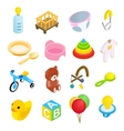 Baby isometric 3d icon set vector image vector image