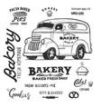 bakery food truck hand draw doodles style van vector image vector image