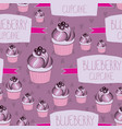 beautiful yummy blueberry cupcake seamless vector image vector image