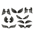 Black tribal heraldic wings set vector image vector image