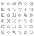 blockchain minimal icons set in outline vector image