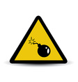 bomb warning sign vector image vector image