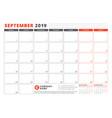 calendar template for september 2019 business vector image