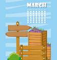 calendar with farm cartoons vector image