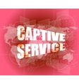 captive service words on digital touch screen and vector image vector image