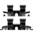 castle and guns with kernels vector image vector image
