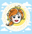 caucasian type girl face expressing positive vector image vector image