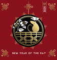 chinese new year rat 2020 gold asian art card vector image