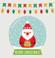 christmas glass ball with santa claus greeting vector image vector image
