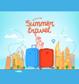 color plastic suitcases with abstract cityscape vector image vector image
