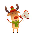 cute cartoon reindeer with megaphone on white vector image vector image