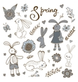 Cute hand drawn spring collection with rabbits and vector image vector image