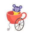 cute little monkey sitting in coach made cup vector image vector image