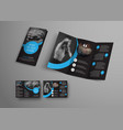 design of a folding brochure with round blue vector image vector image