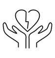 divorce break heart icon outline style vector image vector image