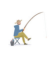 fisherman sitting on folding chair beside a bucket vector image vector image