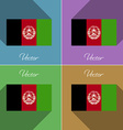 Flags Afghanistan Set of colors flat design and vector image