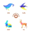 four different overlay animal logos isolated on vector image