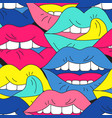 funky open mouth with teeth sensual lips positive vector image
