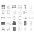 furniture and interior monochromeoutline icons in vector image vector image