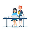 girl in strict clothing next to colleague vector image vector image