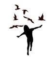 girl kid imitate bird flying and birds flying vector image vector image