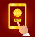 hand holding gold tablet device isolated on red vector image vector image